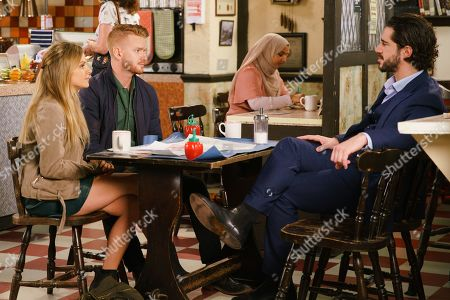 Stock Image of Ep 9859 Wednesday 28th August 2019 - 1st Ep Gary Windass, as played by Mikey North, goes over the factory plans with Sarah Platt, as played by Tina O'Brien. When Adam Barlow, as played by Sam Robertson, quizzes him about his altercation with Derek, Gary plays it down and Adam remains suspicious.
