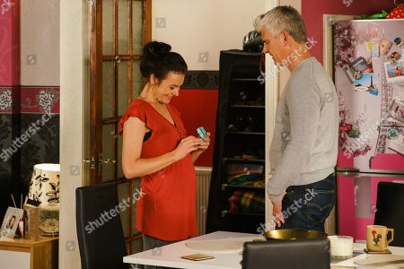 Ep 9857 Monday 26th August 2019 - 1st Ep As Robert Preston, as played by Tristan Gemmill, places the cheap ring on Vicky's, as played by Kerri Quinn, finger Jed, as played by Branwell Donaghey, arrives and is furious.
