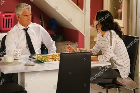 Ep 9869 Monday 9th September 2019 - 1st Ep Robert Preston, as played by Tristan Gemmill, is annoyed to hear that Michelle's agreed to Ray's franchise deal. Ray calls at the bistro and explaining how his daughter had cancer, says he'd like to pay for Sinead and Daniel's wedding and hold the reception at his hotel. Realising his catering skills are no longer required an angry Robert marches out. Arriving at Vicky's, as played by Kerri Quinn, he reveals he'd like to stay the night.