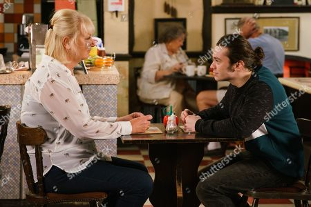 Ep 9857 Monday 26th August 2019 - 1st Ep An excited Seb Franklin, as played by Harry Visinoni, tells Eileen Grimshaw, as played by Sue Cleaver, that Alina is coming round to see him