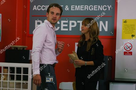 Ep 9871 Wednesday 11th September 2019 - 1st Ep Maria Connor, as played by Samia Longchambon, arrives at the hospital with lunch but Ali Neeson, as played by James Burrows, distracted as his dealer is arrested and dragged away. As he vents his anger on an upset Maria it looks like Ali will have some serious making up to do.