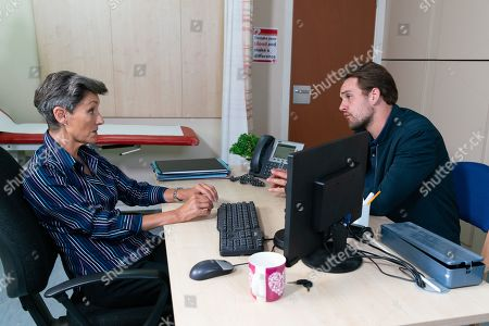 Ep 9873 Friday 13th September 2019 - 1st Ep Ali Neeson, as played by James Burrows, goes to see Dr Gaddas, as played by Christine Mackie, and desperately trying to hide his withdrawal symptoms, begs for diazepam prescription. But Dr Gaddas isn't fooled and urges him to get help for his addiction. Insisting she's got it wrong, Ali leaves.