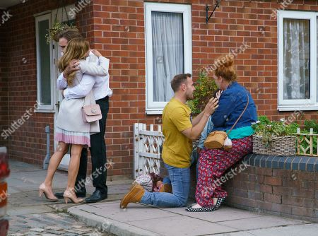 Ep 9864 Monday 2nd September 2019 - 2nd Ep As Ali Neeson, as played by James Burrows, emerges from the smoke filled loading bay carrying Hope Stape, as played by Isobella Flanagan, Fiz Stape, as played by Jennie McAlpine, and Tyrone Dobbs, as played by Alan Halsall, are overcome with relief.