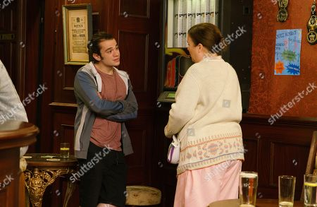 Ep 9864 Monday 2nd September 2019 - 2nd Ep Seb Franklin, as played by Harry Visinoni, is worried about Mary Taylor's, as played by Patti Clare, living conditions and knowing that Eileen's moving away, he offers Mary a room at No.11.
