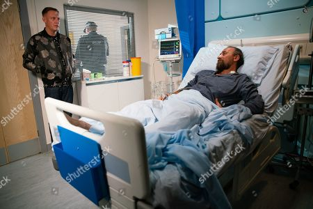 Ep 9865 Wednesday 4th September 2019 - 1st Ep Sean Tully, as played by Antony Cotton, visits Jan, as played by Piotr Baumann, in hospital and tells him that if he really loves Eileen and cares for her safety, he'll let her go.