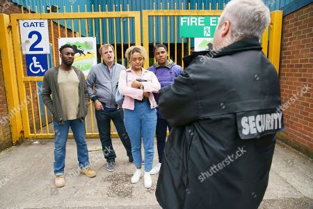 Ep 9866 Wednesday 4th September 2019 - 2nd Ep After being caught by a security guard at Weatherfield County's ground trying to spread Emma, as played by Alexandra Mardell, dad' ashes, Steve McDonald, as played by Simon Gregson, pleads Emma's case and to their delight, the security guard relents and allows them onto the pitch. Also pictured Michael Bailey, as played by Ryan Russell, and James Bailey, as played by Nathan Graham.