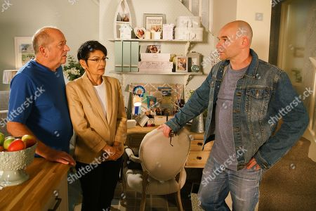 Ep 9862 Friday 30th August 2019 - 2nd Ep Tim Metcalfe's, as played by Joe Duttine, bemused to find Yasmeen Nazir, as played by Shelley King, at No.4, holding Geoff Metcalfe's, as played by Ian Bartholomew, hand and offering words of comfort. Realising Tim is in the dark, Yasmeen urges Geoff to tell him about his illness.