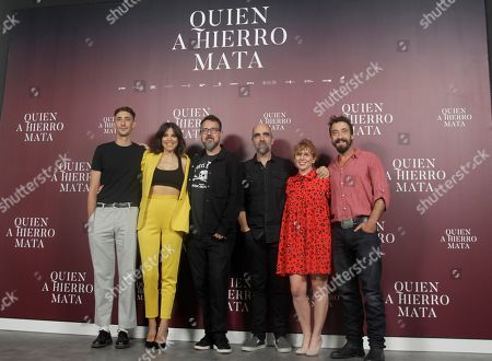 Spanish actors Enric Auquer, Luisa Mayo, Spanish filmmaker Paco Plaza, Spanish actor Luis Tosar, Spanish actress Maria Vazquez and actor Ismael Martinez pose during the presentation of the Paco Plaza's lastest film 'Quien a hierro mata' in Madrid, Spain, 27 August 2019.