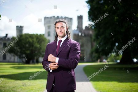 Stock Image of Wales Rugby player Josh Navidi wearing a Timothy Everest suit at the Vale Resort, South Wales.