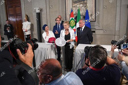 (L-R) Gruppo Misto (Mixed Group) members of the Senate, Emma Bonino, Riccardo Nencini, Loredana De Petris and Pietro Grasso address the media after a meeting with Italian President Sergio Mattarella at the Quirinale Palace for the second round of formal political consultations following the resignation of Prime Minister Giuseppe Conte, in Rome, Italy, 27 August 2019.