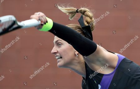 Petra Kvitova, of the Czech Republic, serves to Denisa Allertova, of the Czech Republic, during the first round of the US Open tennis tournament, in New York