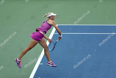 Denisa Allertova, of the Czech Republic, serves to Petra Kvitova, of the Czech Republic, during the first round of the US Open tennis tournament, in New York