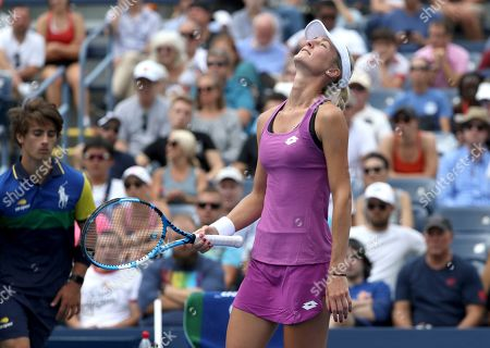 Denisa Allertova, of the Czech Republic, reacts after losing a point to Petra Kvitova, of the Czech Republic, during the first round of the US Open tennis tournament, in New York