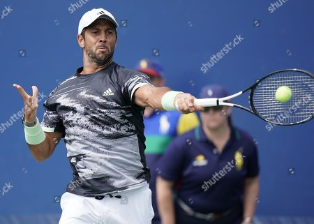 Fernando Verdasco of Spain hits a return to Tobias Kamke of Germany during their match on the second day of the US Open Tennis Championships the USTA National Tennis Center in Flushing Meadows, New York, USA, 27 August 2019. The US Open runs from 26 August through 08 September.