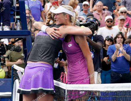 Petra Kvitova of the Czech Republic (L) and Denisa Allertova of the Czech Republic after their match on the second day of the US Open Tennis Championships the USTA National Tennis Center in Flushing Meadows, New York, USA, 27 August 2019. The US Open runs from 26 August through 08 September.