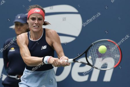 Nicole Gibbs of the US hits a return to Simona Halep of Romania during their match on the second day of the US Open Tennis Championships the USTA National Tennis Center in Flushing Meadows, New York, USA, 27 August 2019. The US Open runs from 26 August through 08 September.