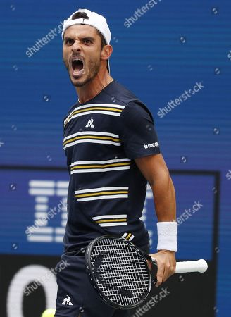 Thomas Fabbiano of Italy reacts as he plays Dominic Thiem of Austria during their match on the second day of the US Open Tennis Championships the USTA National Tennis Center in Flushing Meadows, New York, USA, 27 August 2019. The US Open runs from 26 August through 08 September.