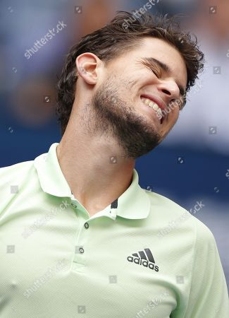 Dominic Thiem of Austria reacts as he plays Thomas Fabbiano of Italy during their match on the second day of the US Open Tennis Championships the USTA National Tennis Center in Flushing Meadows, New York, USA, 27 August 2019. The US Open runs from 26 August through 08 September.