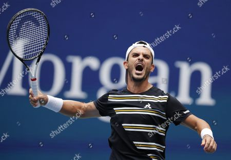Thomas Fabbiano of Italy reacts after upsetting Dominic Thiem of Austria during their match on the second day of the US Open Tennis Championships the USTA National Tennis Center in Flushing Meadows, New York, USA, 27 August 2019. The US Open runs from 26 August through 08 September.
