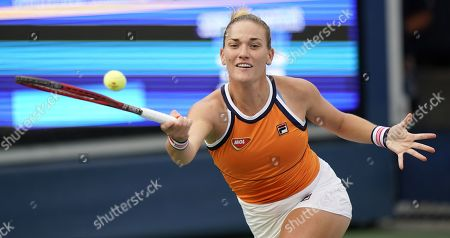 Timea Babos of Hungary hits a return to Carla Suarez-Navarro of Spain during their match on the second day of the US Open Tennis Championships the USTA National Tennis Center in Flushing Meadows, New York, USA, 27 August 2019. The US Open runs from 26 August through 08 September.