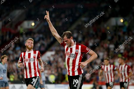 Richard Stearman of Sheffield United Celebrates scoring a goal during the EFL Cup match between Sheffield United and Blackburn Rovers at Bramall Lane, Sheffield