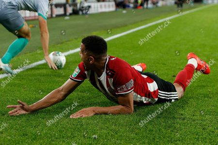 Ravel Morrison of Sheffield United protests to the linesman during the EFL Cup match between Sheffield United and Blackburn Rovers at Bramall Lane, Sheffield