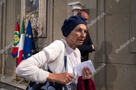 Gruppo Misto (Mixed Group) members of the Senate, Emma Bonino, arrives to address the media after a meeting with Italian President Sergio Mattarella at the Quirinale Palace for the second round of formal political consultations following the resignation of Prime Minister Giuseppe Conte, in Rome, Italy, 27 August 2019.