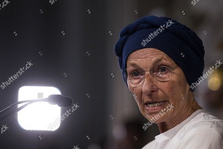 Gruppo Misto (Mixed Group) members of the Senate, Emma Bonino, addresses the media after a meeting with Italian President Sergio Mattarella at the Quirinale Palace for the second round of formal political consultations following the resignation of Prime Minister Giuseppe Conte, in Rome, Italy, 27 August 2019.