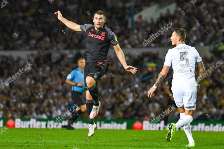 Stoke City forward Sam Vokes (9) in action during the EFL Cup match between Leeds United and Stoke City at Elland Road, Leeds