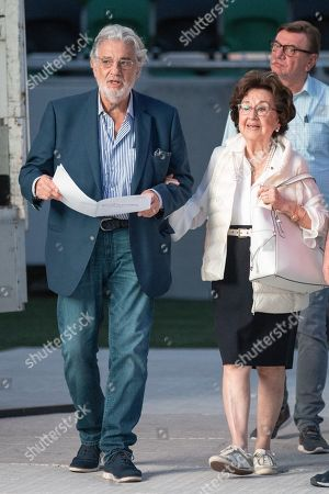 Spanish tenor Placido Domingo (L) and his wife, Marta Domingo arrive for the rehearsal of the opening gala of the Gerard Of Sagredo Youth Forum and Sports Center in Szeged, Hungary, 27 August 2019, a day prior to the event.
