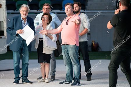 Spanish tenor Placido Domingo (L) and his wife, Marta Domingo (C) arrive for the rehearsal of the opening gala of the Gerard Of Sagredo Youth Forum and Sports Center in Szeged, Hungary, 27 August 2019, a day prior to the event.