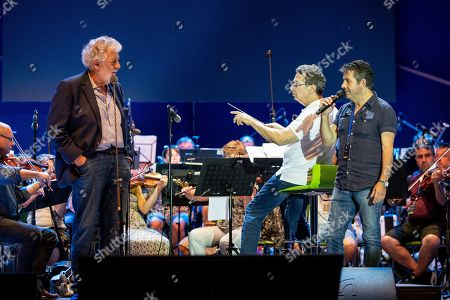 Spanish tenor Placido Domingo (L) and his son, Placido Domingo Jr. (R) during the rehearsal of the opening gala of the Gerard Of Sagredo Youth Forum and Sports Center in Szeged, Hungary, 27 August 2019, a day prior to the event.