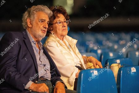 Spanish tenor Placido Domingo (L) and his wife, Marta Domingo during the rehearsal of the opening gala of the Gerard Of Sagredo Youth Forum and Sports Center in Szeged, Hungary, 27 August 2019, a day prior to the event.