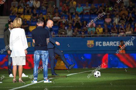 Johan Cruyff's son Jordi Cruyff (4-L) takes the kickoff of the inaugural game between U-19 FC Barcelona and U-19 Ajax Amsterdam at Estadi Johan Cruyff stadium at Joan Gamper Sports City in Barcelona, Catalonia, Spain, 27 August 2019.