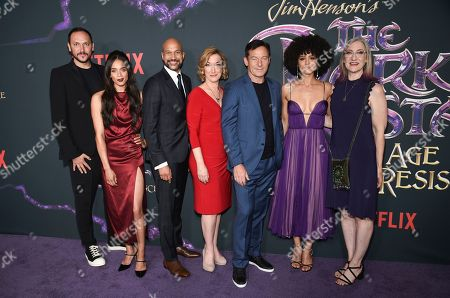 "Louis Leterrier, Hannah John-Kamen, Keegan-Michael Key, Donna Kimball, Jason Isaacs, Nathalie Emmanuel, Lisa Henson. Executive producer and director Louis Leterrier, left, actors Hannah John-Kamen, Keegan-Michael Key, Donna Kimball, Jason Isaacs, Nathalie Emmanuel and executive producer and CEO of The Jim Henson Company Lisa Henson pose together at the premiere of Netflix's ""Dark Crystal: Age of Resistance,"" at the Museum of the Moving Image, in New York"