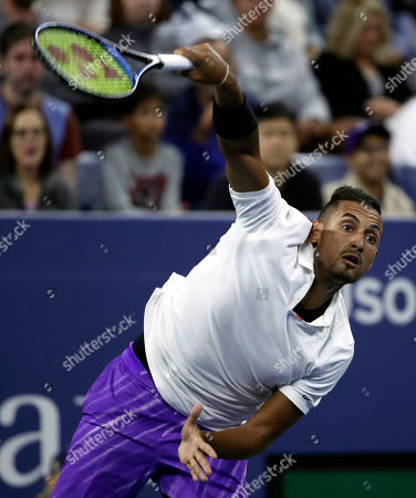 Nick Kyrgios of Australia serves to Steve Johnson of the United States on the second day of the US Open Tennis Championships the USTA National Tennis Center in Flushing Meadows, New York, USA, 27 August 2019. The US Open runs from 26 August through 08 September.