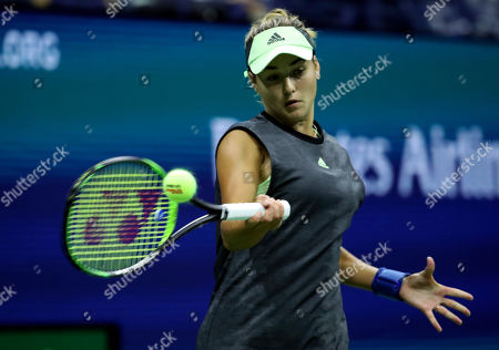 Anna Kalinskaya of Russia in action against Sloane Stephens of the USA during their match on the second day of the US Open Tennis Championships at the USTA National Tennis Center in Flushing Meadows, New York, USA, 27 August 2019. The US Open runs from 26 August through 08 September.