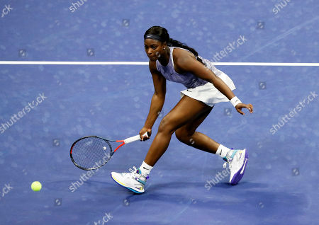 Sloane Stephens of the USA in action against Anna Kalinskaya of Russia during their match on the second day of the US Open Tennis Championships at the USTA National Tennis Center in Flushing Meadows, New York, USA, 27 August 2019. The US Open runs from 26 August through 08 September.