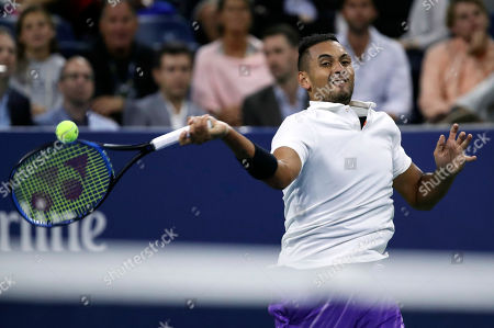 Nick Kyrgios of Australia returns to Steve Johnson of the United States on the second day of the US Open Tennis Championships the USTA National Tennis Center in Flushing Meadows, New York, USA, 27 August 2019. The US Open runs from 26 August through 08 September.