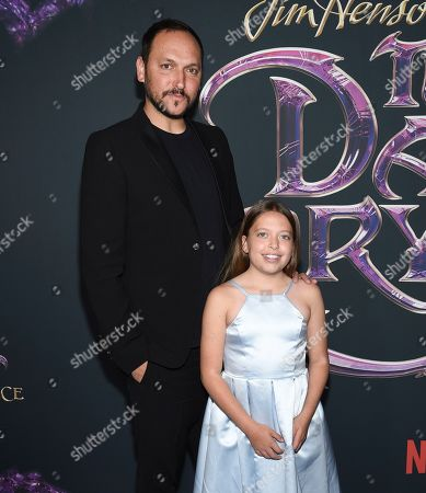 "Stock Picture of Louis Leterrier and his daughter Mila attend the premiere of Netflix's ""Dark Crystal: Age of Resistance"" at the Museum of the Moving Image, in New York"
