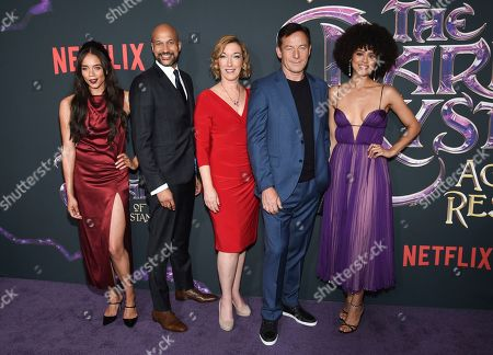 """Stock Photo of Hannah John-Kamen, Keegan-Michael Key, Donna Kimball, Jason Isaacs, Nathalie Emmanuel. Actors Hannah John-Kamen, Keegan-Michael Key, Donna Kimball, Jason Isaacs and Nathalie Emmanuel pose together at the premiere of Netflix's """"Dark Crystal: Age of Resistance"""" at the Museum of the Moving Image, in New York"""