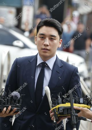 South Korean superstar Lee Seung-hyun, who is a former member of group Big Bang, speaks to the media upon his arrival at the Seoul Metropolitan Police Agency in Seoul, South Korea, 28 August 2019. Lee Seung-hyun and Yang Hyun-suk, former chief producer and founder of YG Entertainment, will be investigated by police on charges of illegal gambling abroad. They are suspected of gambling up to tens of millions of won at a time at casinos, including the MGM Hotel and Casino in Las Vegas. Gambling is illegal in Korea.