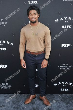 "Isaiah John attends the LA premiere of ""Mayans M.C."" Season Two at ArcLight Cinemas - Hollywood, in Los Angeles"