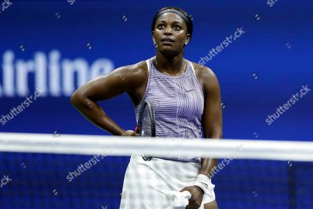 Sloane Stephens reacts against Anna Kalinskaya, of Russia, during the first round of the U.S. Open tennis tournament, in New York
