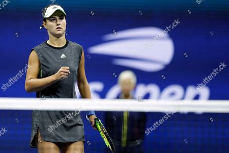 Anna Kalinskaya, of Russia, reacts against Sloane Stephens against during the first round of the U.S. Open tennis tournament, in New York