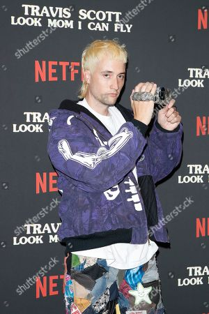 US filmmaker White Trash Tyler, aka Tyler Ross attends the premiere of Netflix' Travis Scott: Look Mom I Can Fly at the Barker Hangar in Santa Monica, California, USA 27 August 2019. The movie traces the Houston rapper's rise to super-stardom, focusing on the months surrounding the release of his album ASTROWORLD and is opening in the US on Netflix 28 August 2019.