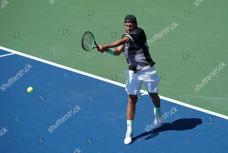 Lucas Pouille of France in action in the second round