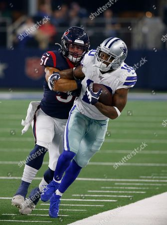 Dylan Cole, Kasey Redfern. Houston Texans linebacker Dylan Cole (51) stops Dallas Cowboys wide receiver Tavon Austin (10) from advancing the ball in the first half of a preseason NFL football game in Arlington, Texas