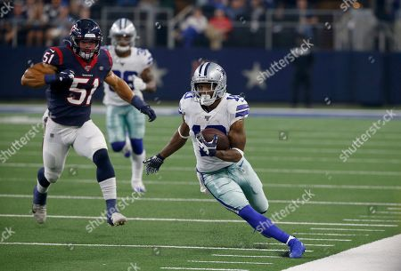 Tavon Austin, Dylan Cole. Dallas Cowboys' Tavon Austin (10) carries the ball as Houston Texans' Dylan Cole (51) gives chase in the first half of a preseason NFL football game in Arlington, Texas