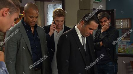 Ep 8579 Wednesday 28th August 2019 In the Cafe, shocked, Robert Sugden, as played by Ryan Hawley, Paddy Kirk, Al Chapman, as played by Michael Wildman, Graham Foster, as played by Andrew Scarborough, and Cain Dingle, as played by Jeff Hordley, rush to Liv as she has a seizure. While struggling to process what's happening to Liv, Robert is rooted to the spot. With Jacob Gallagher, as played by Joe Warren Plant.